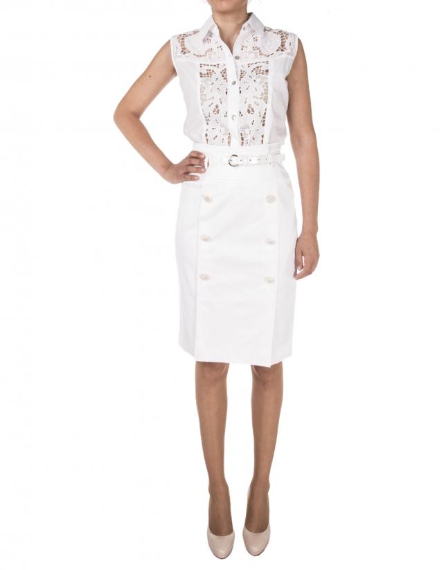 be9cf93444 Falda blanca botones - Faldas - Mujer
