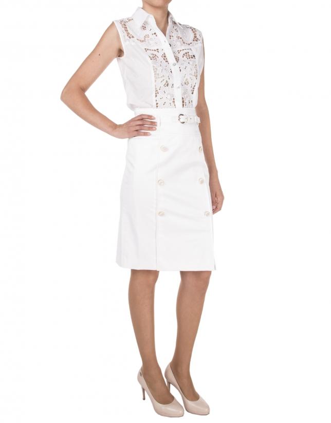 Falda blanca botones