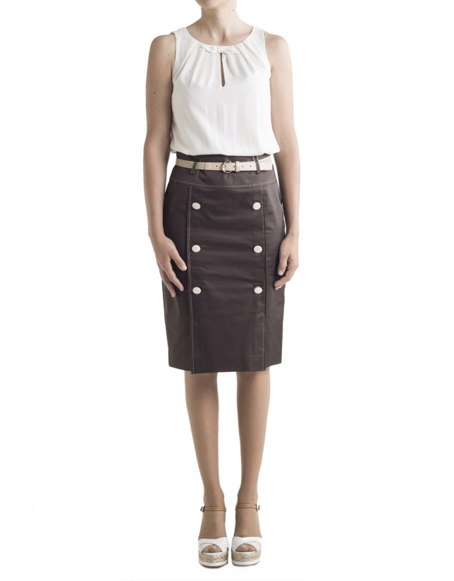 Brown buttoned skirt