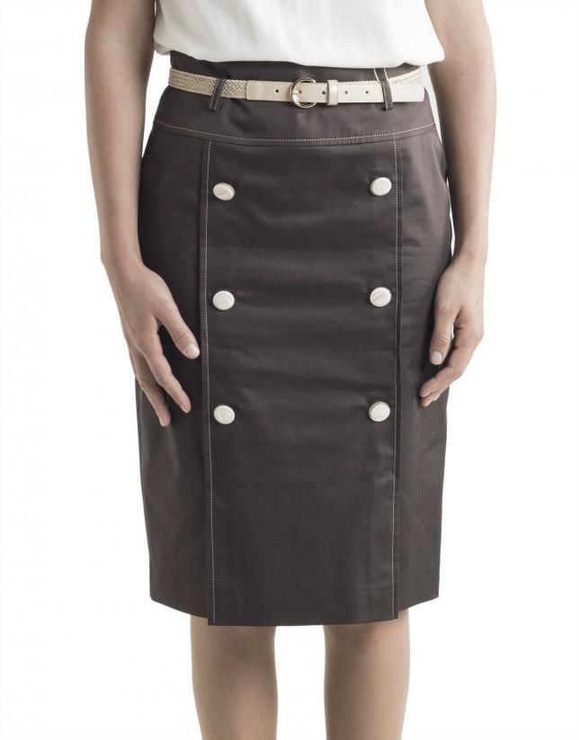 Falda marrón botones