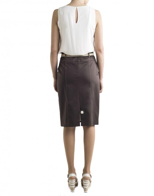 Brown buttoned skirt