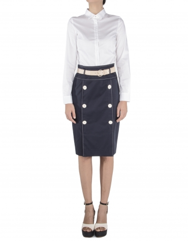 Straight buttoned skirt