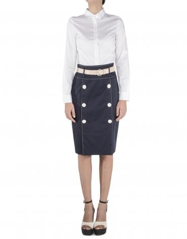 Straight buttoned skirt