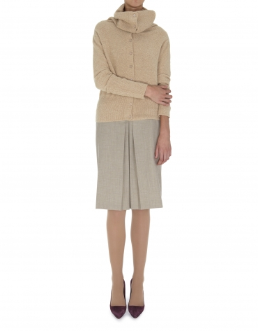Beige wool and angora jacket with large collar