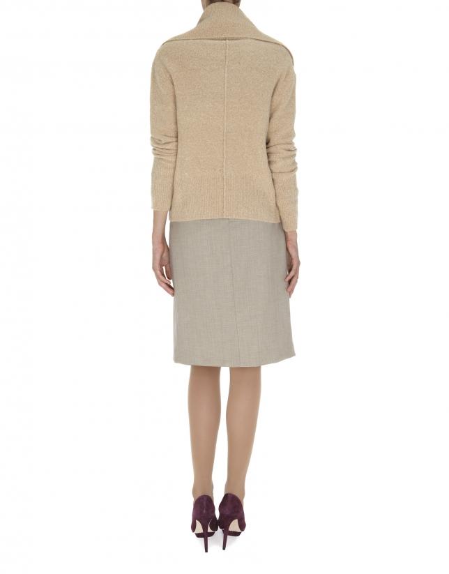 Chaqueta beige de lana y angora amplio cuello