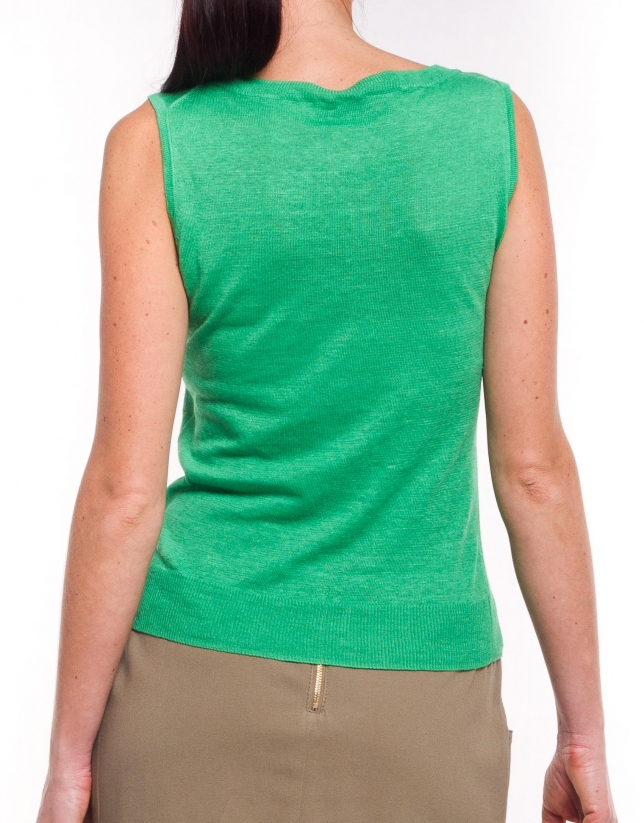 Linen jersey with round neck