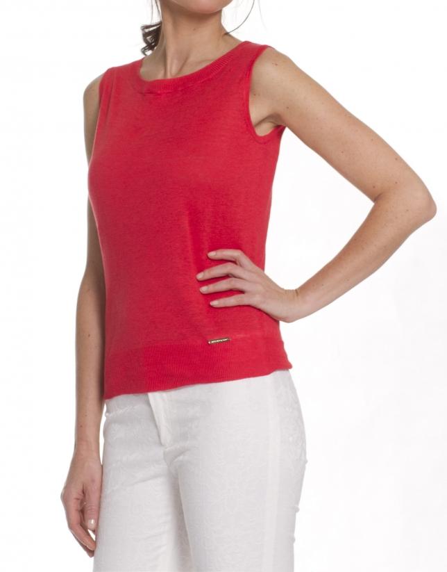 Jersey de lino cuello redondo