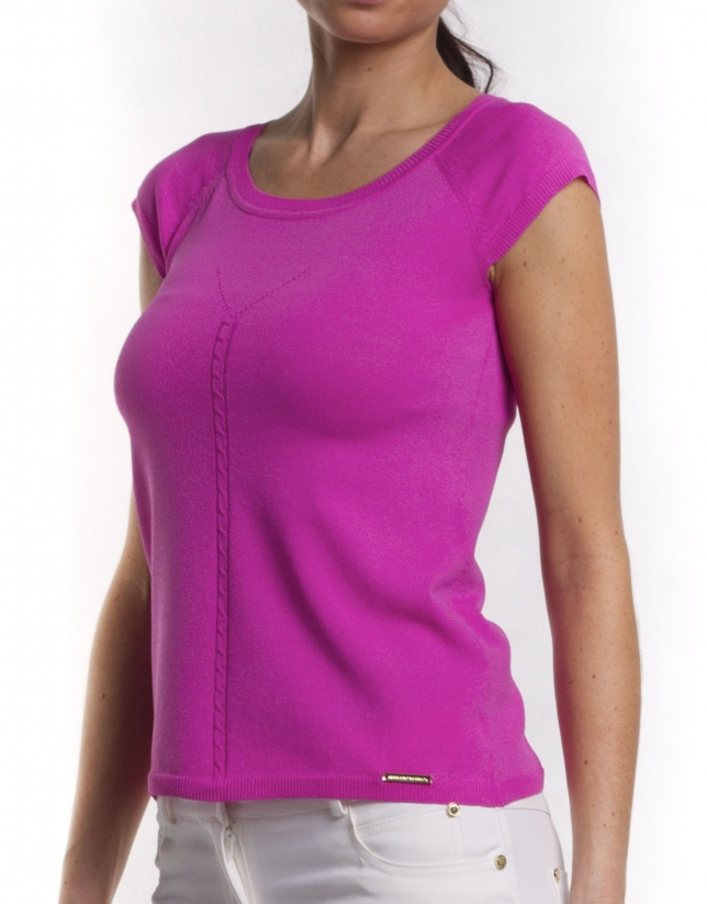 Viscose sweater with round neck