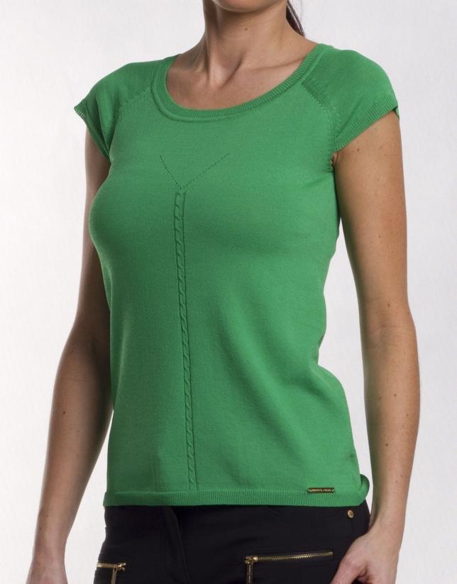 Viscose sweater with round neck