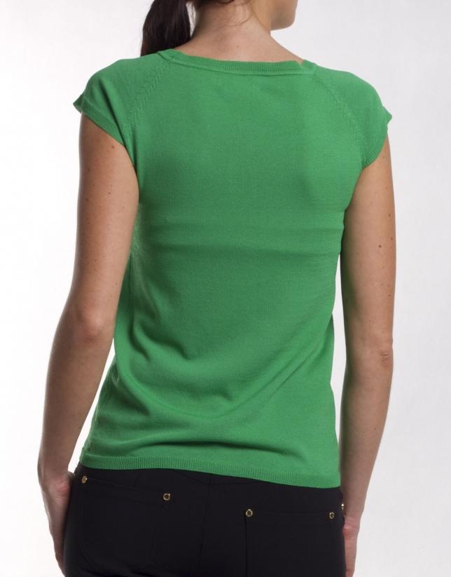 Jersey de viscosa con cuello redondo