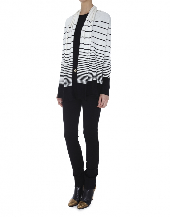 Ivory and black striped jacket with shawl collar