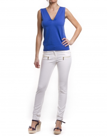 V-neck silk-cotton jersey