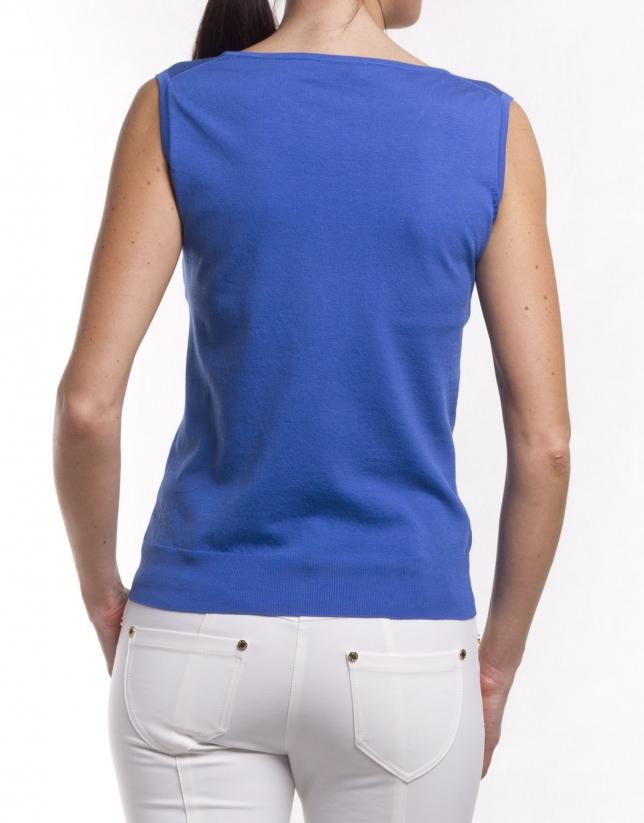 V-neck silk-cotton jersey