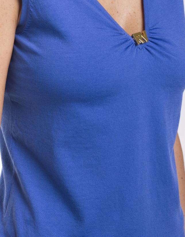 Jersey de seda-algodón con cuello en V