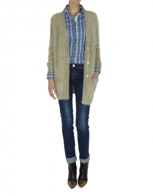 Long beige knit jacket