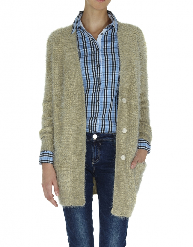 Long beige knit jacket
