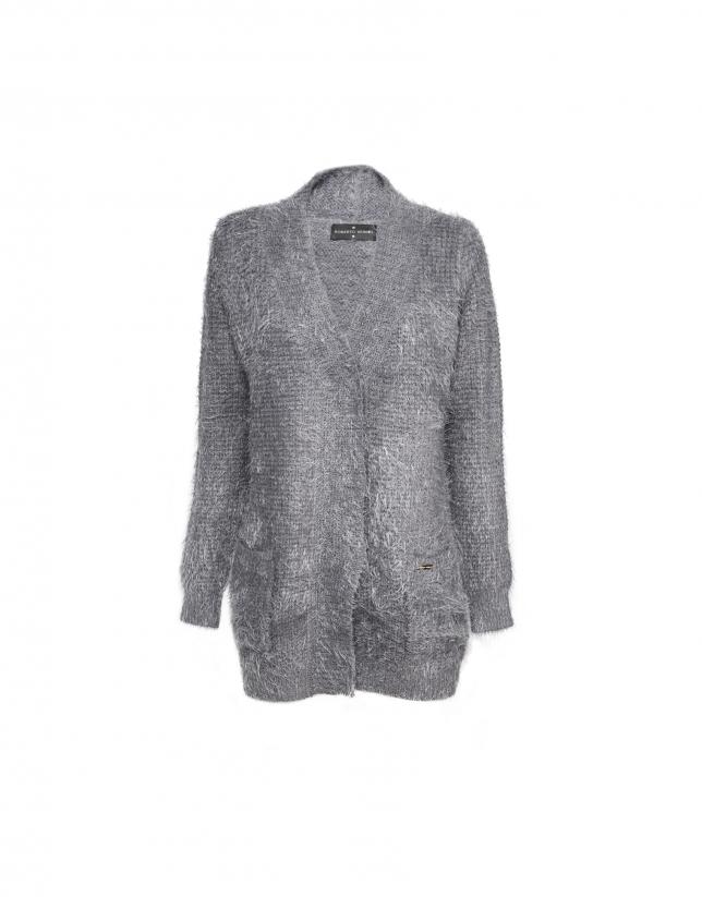 Long gray  knit jacket with V neck