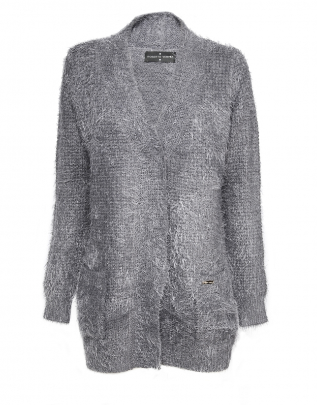 Long gray  knit jacket with V neck