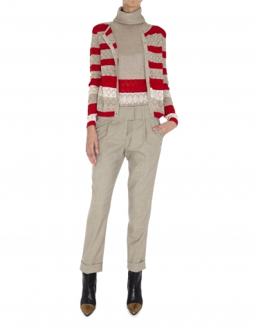 Beige and red striped openwork jacket
