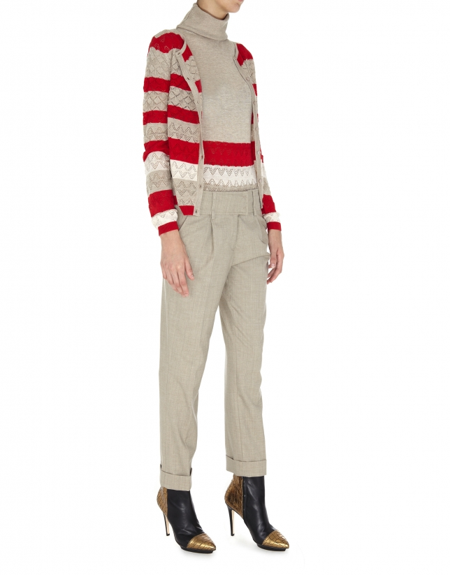 Chaqueta para twin set tejido calado con listas beige y rojas