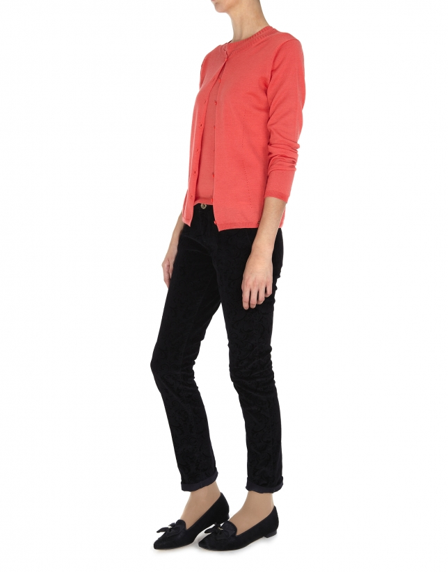 Coral wool and silk jacket