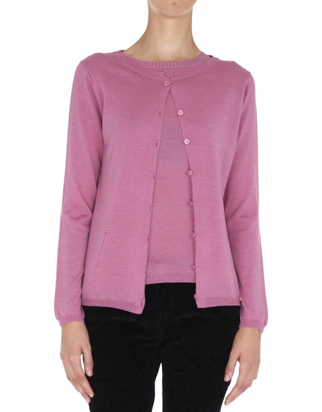 Gilet en tricot bois de rose en tricot et soie