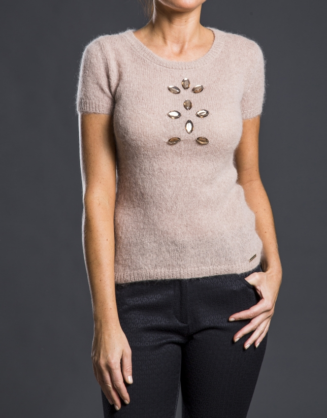 Beige sweater with beading
