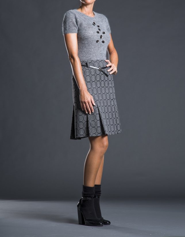 Gray sweater with beading