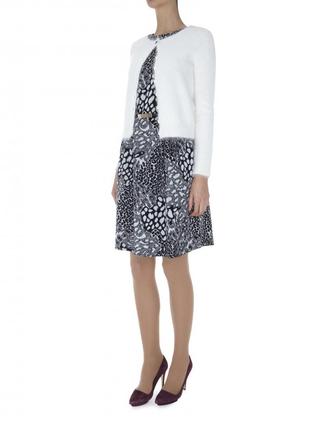 Off white short angora jacket