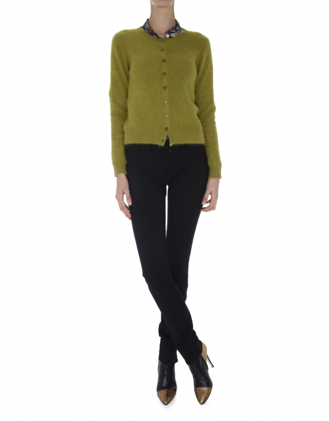 Olive green short angora jacket