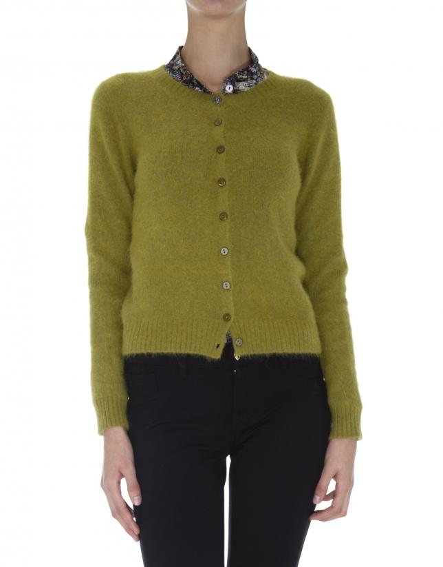 Olive green short angora jacket