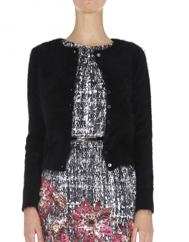 Black short angora jacket