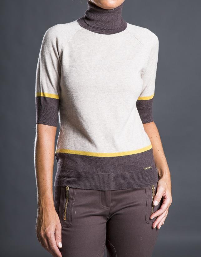 Beige striped fantasy sweater