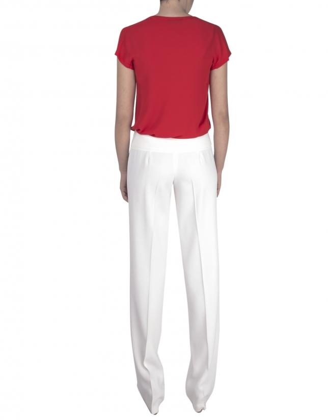 Beige straight pants.
