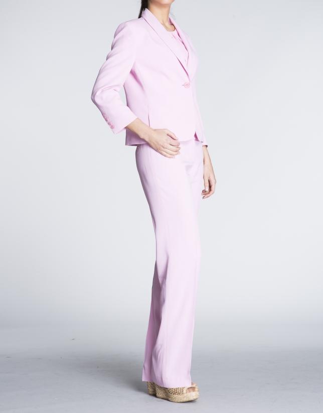 Pantalón recto en  rosa