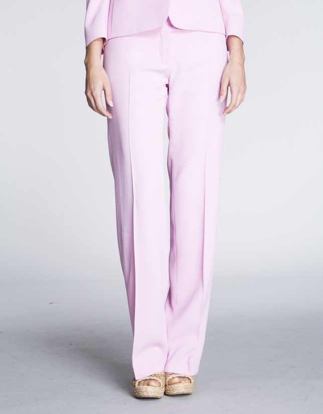 Pink straight pants.