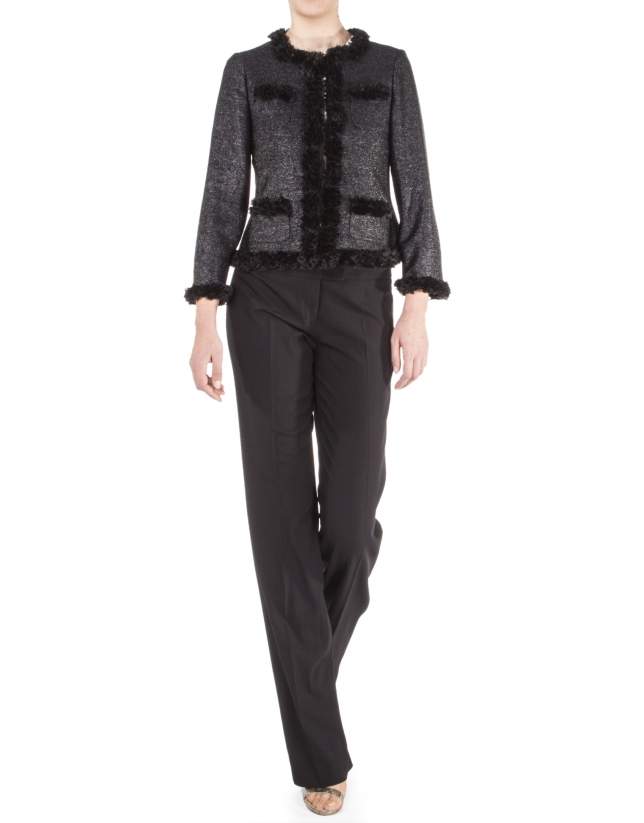 Black straight pants.