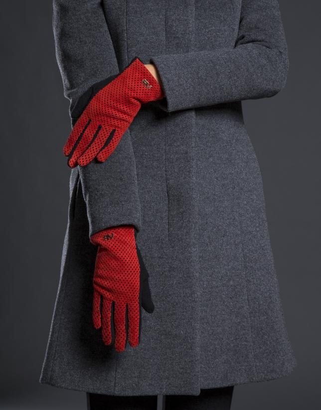 Gant tricot noir et daim frappé rouge