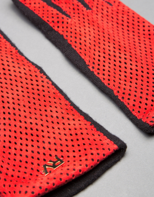 Black knit gloves with red embossed suede