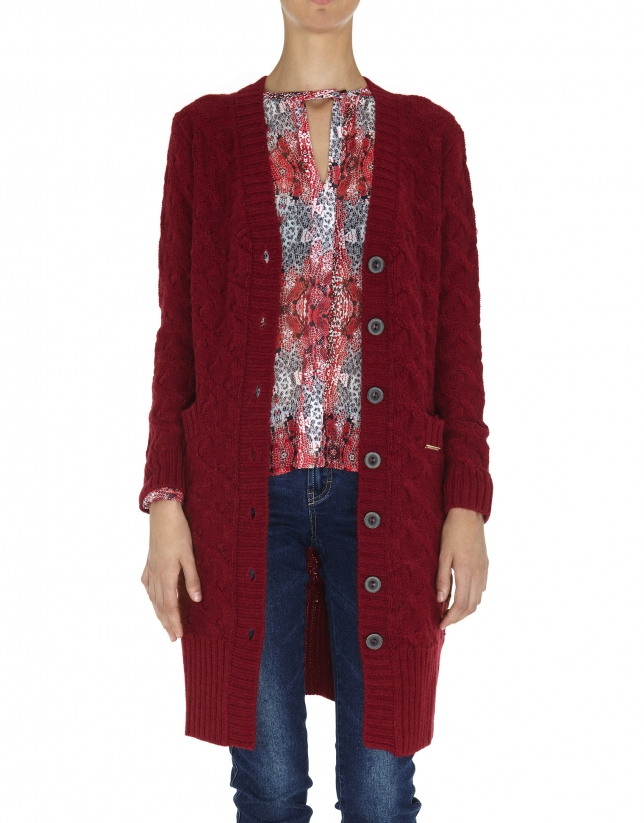 Burgundy long wool and alpaca jacket