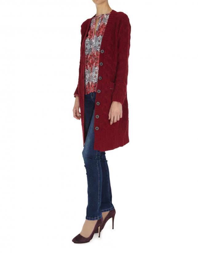 Burgundy long wool and alpaca jacket