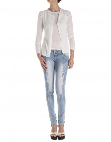 Off white, long sleeve knit jacket