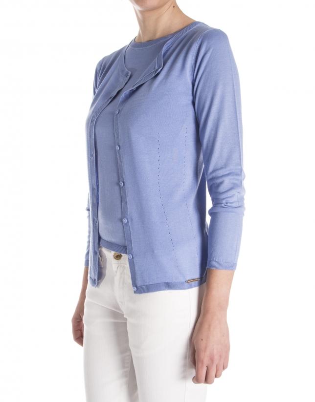 Blue long sleeve knit jacket