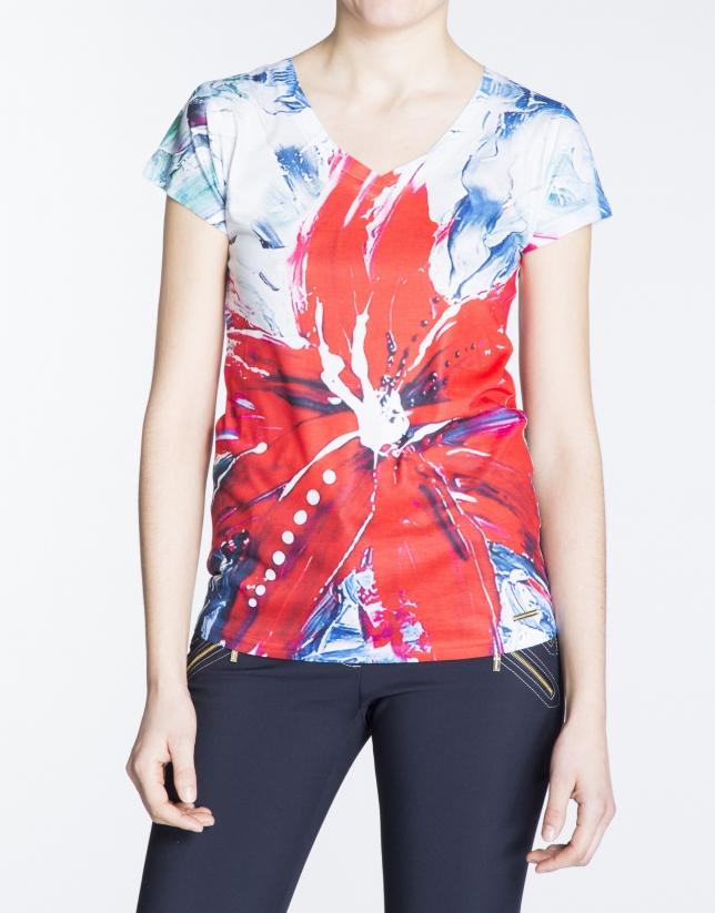 Red floral print top.