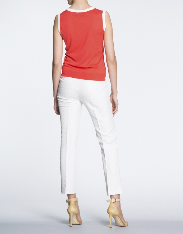 Geranium red top for twinset