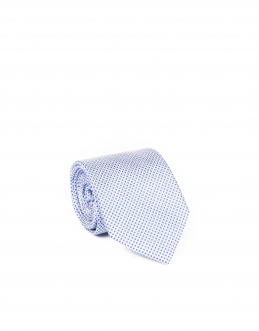 Blue microprint tie