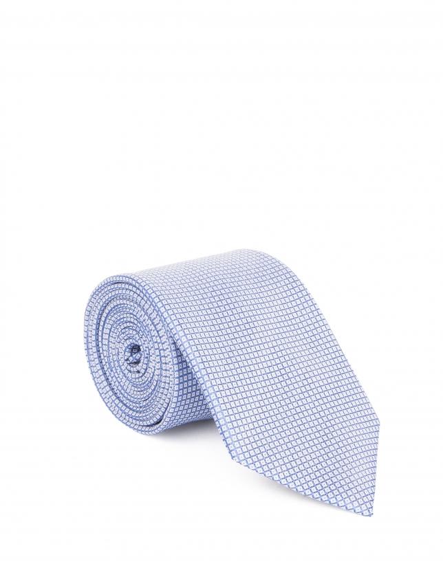 Corbata azul microdibujo pala normal