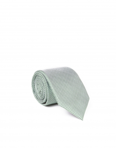 Green microprint tie