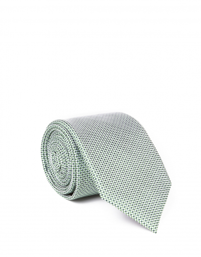 Green microprint tie