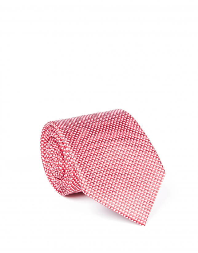 Red microprint tie